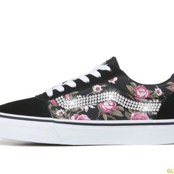 Women's Vans Ward Low Top Sneakers + Crystals - Rose/Black