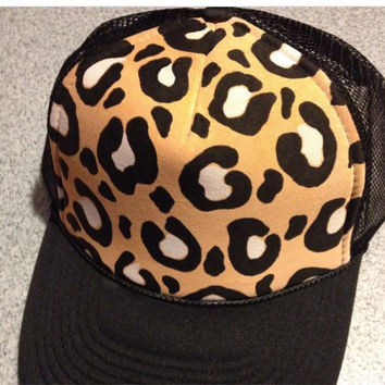 MADE TO ORDER cheetah handpainted trucker hat
