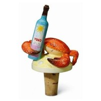 Tropical Island Crab Wine Cork Bottle Topper Stopper