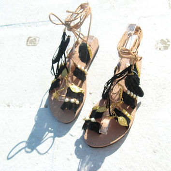 Boho Sandals/Leather Gladiator Sandals/Black & Gold  Kirki/ Womens gladiator/Sandals/Lace up sandals/Boho/Indie/Hippie/Barefoot sandals