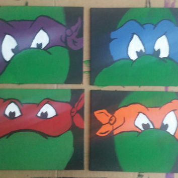 Set of 4 hand painted canvas squares - TMNT - Teenage Mutant Ninja Turtles
