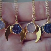 BABY MOONBEAM /// Handcrafted Druzy Necklace /// 24kt Gold Plate /// Moon Necklace