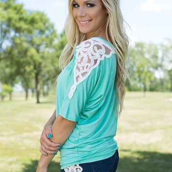 Took Me By Surprise Lace Sleeves Dolman in Mint