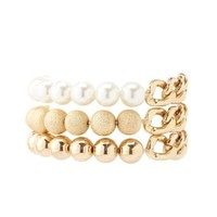 Gold, Pearl & Chain Stretch Bracelets - 3 Pack - Gold