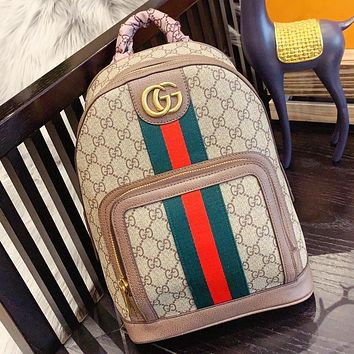 GUCCI Fashion New Stripe More Letter Leather Shopping Leisure Book Bag Backpack Bag Handbag