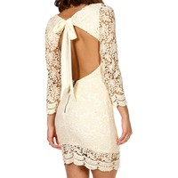laina- Crochet Open Back Dress