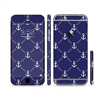 The Navy Blue & White Seamless Anchor Pattern Sectioned Skin Series for the Apple iPhone 6 Plus