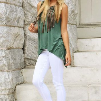 Judith March: Hanging By A Moment Top: Teal Green/Mocha - What's New - Hope's Boutique