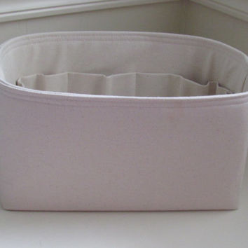 Water RESISTANT  Purse Organizer Insert ... Natural Canvas ... Fits Longchamp Le Pliage Large Tote