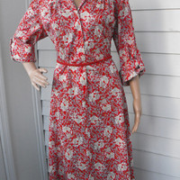 Vintage 70s Red Floral Print Dress Boho XL XXL Plus
