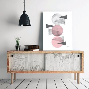 PRINT of Pink Black and white Abstract poster Triangles Circles poster Geometric art poster Minimal Modern Scandinavian Nordic Style Digital
