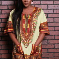 Dashiki Shirt with Pockets in Multicolor