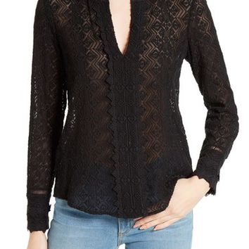 Rebecca Taylor Florence Silk Lace Blouse | Nordstrom