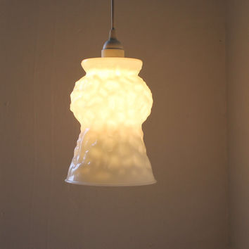 Glacier  Large Textured Milk Glass Vase Pendant Light by BootsNGus
