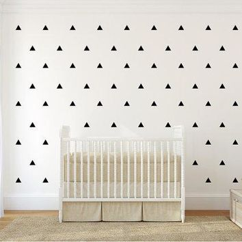 Triangles Pattern Wall Decal. 12 Or 3 Colors. Nursery Wall Decal. Wall Sticker.