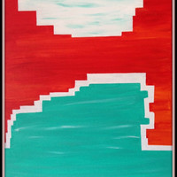 "Tuscon Sunset, 21"" X 17"" thin canvas, abstract acrylic art painting, coral, white and turquoise - customizable"