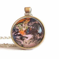 earth planet pendant,earth planet jewelry,glass galaxy pendant,space necklace,galaxy glass pendant,galaxy pendant,galaxy necklace,astronomy