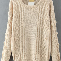 Apricot Knit Ball Embroidered Long Sleeve Sweater