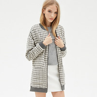 Contrast Trim Zip Front Cotton Blend Coat