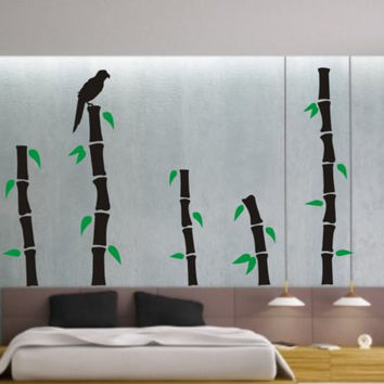 Bamboo and Leafs Bird Decor Nature Decal Sticker Wall Vinyl Art Design