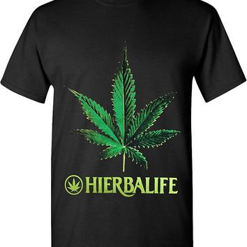 Hierbalife Marijuana Weed Leaf 420 Solid Graphic T-Shirts