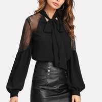 Black Long Sleeve Blouse with Neck Tie