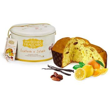 Fraccaro Slow Food Candied Citron and Dates Panettone in Gift Tin, 35.2 oz (1 kg)