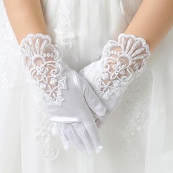 Kids Gift White Elastic Mesh Cloth Girls Party Formal Etiquette Gloves Pearl Short Lace Bow Children Princess Dance Gloves G79