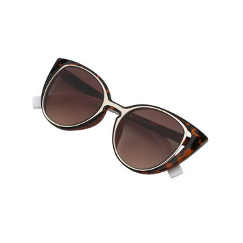 Cutout Leopard Frame Cat Eye Sunglasses