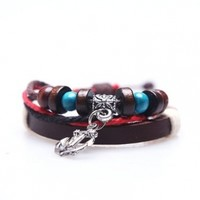 Leather Cuff Bracelet with Anchor Double Strap Leather Wrap Bracelet with Red Rope - 1 Piece:Amazon:Jewelry