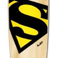 "S CRESST SuperMan & TIEDYE Graphic Complete Longboard- MINI CRUISER- BANANA CRUISER 27"" X 8"", S Crest- Black & Yellow"