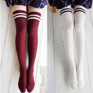 DCCKHNW Women New Girls Cotton Knit Over Knee Thigh Stockings High Socks Hosiery Tights