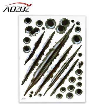Car Sticker 3D Bullet Hole and Tearing Crack Decals Window Wall Sticker Car Styling Accessories