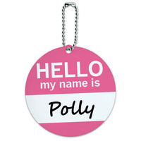 Polly Hello My Name Is Round ID Card Luggage Tag