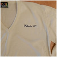 Mens Vintage 70s White V Neck Campus Pullover Acrylic Knit Sweater Embroidered Wolverine