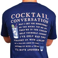 Cocktail Conversation Tee in Navy by Southern Proper