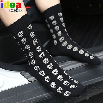 Harajuku street skull men women's novelty socks punk red black odor-proof bone long socks skateboard hiphop horror odd sox