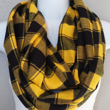 Bold and Beautiful Chunky Plaid Infinity Scarf Yellow and Black Plaid Womens Fall Scarf Girls Fashion Accessories Plaid Winter Circle Scarf