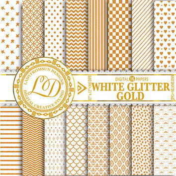 White Glitter Gold Paper Pack, chevron, White and gold, polka dots, stripes, Scrapbook Paper and Backgrounds Commercial-Personal Use