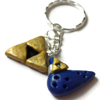 Zelda Ocarina Keychain, Legend of Zelda Link Triforce Jewelry, Video Game Necklace, Polymer Clay Master Sword, Triforce Accessories