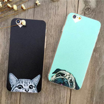 Super kawaii cat pugs dog face peeking Apple iPhone 6 Case Fashion Luxury Ultra Thin Funny Cat Dog Back Covers For iphone6 6S 4.7inch
