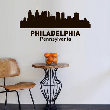 Wall Vinyl Sticker Decals Decor Art Bedroom Design Mural Words Sign Town City Skyline Philadelphia Pennsylvania (z3044)