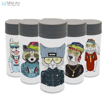 Modern Kawaii Hipster Fashion Animals Cat Dog Gift BPA Free Plastic Insulated 300ml With Lid Water Bottle Personalized Drinkware
