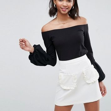 ASOS Off Shoulder Top with Pretty Bell Sleeve at asos.com