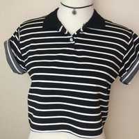 Vintage Black and white striped crop top