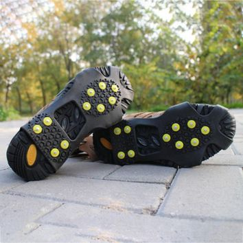 1 Pair 10 Nail Crampons Snow Claws Non-Slip Spikes Ice Snows Anti-skid Shoes Boots Grippers Crampon Walk Cleats