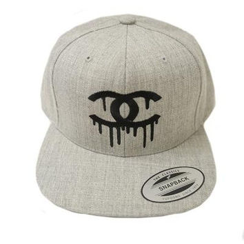 Dripping Chanel CC Snapback Gray Hat