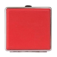 Hestio 20s Double Leather Cigarette Case Multi-colored Stainless Steel Cigar Box (bright red)