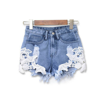 Hot Sales 2016 Summer Style Women High Waist Casual Shorts Sexy Lace Crochet Blue Denim Shorts Vintage Jeans Girls Shorts