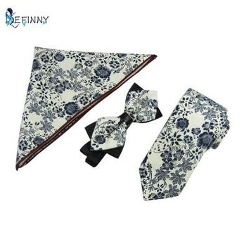 Wedding Paisley Ties/Bowties/Pocket Square 3 PCS/Set Casual Tie Set Suit For Christmas Gifts For Men With 10 Colors